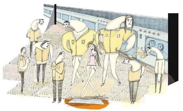 Zeichnung von Doro Huber: Männer schauen Frauen hinterher